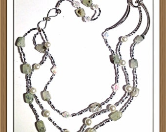 Handmade MWL aventurine, silver and pearl necklace. 0110