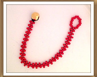 Bracelet Orange seed beaded right angle weave. Button closure. 0230