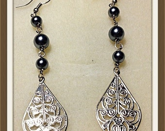 MWL long dangle pearl earrings