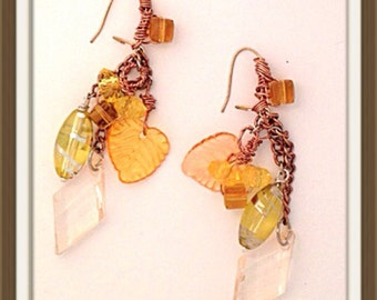 Handmade MWL multi color and shaped beaded earrings. 0097