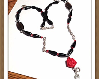 Handmade MWL black, red and silver lanyard. 0267