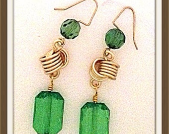 Handmade MWL long knotted emerald green dangle earrings. 0040