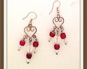 Handmade MWL wire heart dangle red and white beaded earrings. 0041