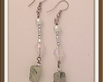Handmade MWL aventurine dangle earrings. 0110