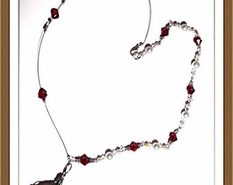 Handmade MWL pearl and red beaded necklace. 0147