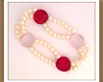 Bracelet by MWL red and pink faceted beads and pearl handmade 0219