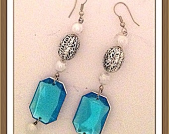 Handmade MWL long dangle blue, white and silver earrings. 0036