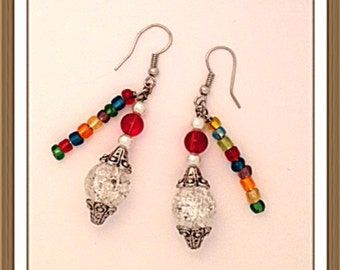Handmade MWL multi color dangle earrings. 0143