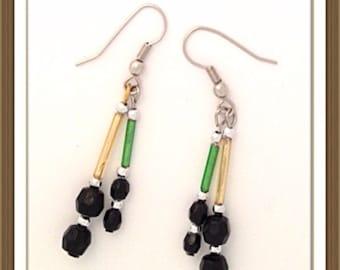 Handmade MWL green, black and gold earrings. 0103