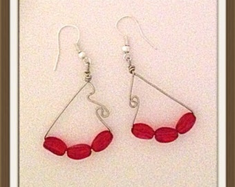 Handmade MWL handcrafted forged wire dangle earrings. 0016