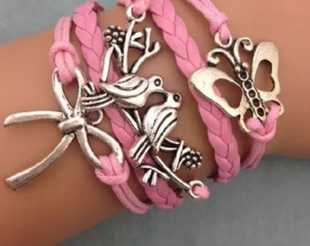 Bracelet by MWL Butterfly, Love Birds and Bow pink bracelet.