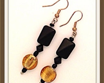 Handmade MWL black and gold venetian glass dangle earrings. 0116