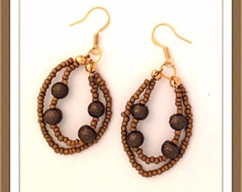 Handmade MWL brown double loop earrings. 0073