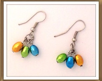 Handmade MWL multi color beaded earrings. 0095