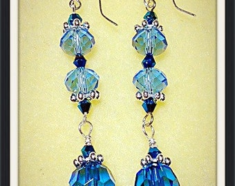 MWL Blue Saworski Crystal Dangle Earrings