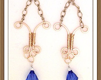 Handmade MWL forged long dangle blue and gold earrings. 0140
