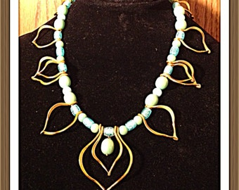 Handmade MWL forged one of a kind wire necklace with blue beads. 00005