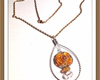 Handmade MWL tear drop wire frame with center beaded wire wrapped necklace. 0247