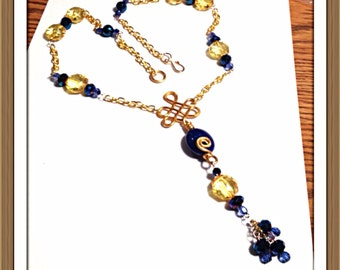 Handmade MWL blue and yellow forged necklace. 0269