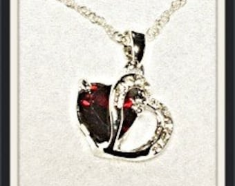 MWL Red Double Heart Stone with Crystals
