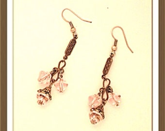 Handmade MWL pink and silver dangle earrings. 0144
