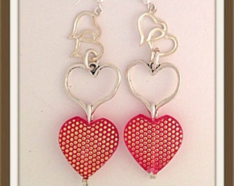 Handmade MWL valentines day long red and silver dangle earrings. 0022