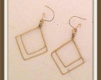 Handmade MWL double square wired earrings. 0030