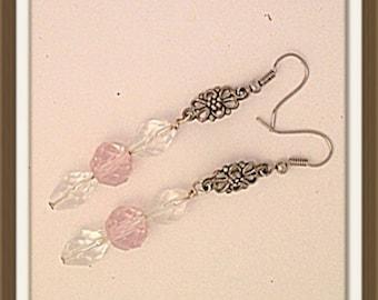 Handmade MWL long dangle pierced pink crystal earrings 0111