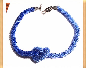 Handmade MWL crocheted blue beaded necklace. 0312