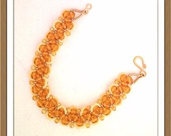 Bracelet Handmade bu MWL golden and light yellow beaded bracelet. 0210