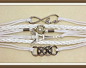 Bracelet by MWL Paris, love infinity, heart, pearl and celtic charm Bracelet.