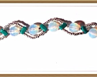 Bracelet Handmade by MWL turquoise, moonstone and silver beaded bracelet. 0191
