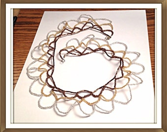 Handmade MWL brown, gold and silver beaded necklace. 0320