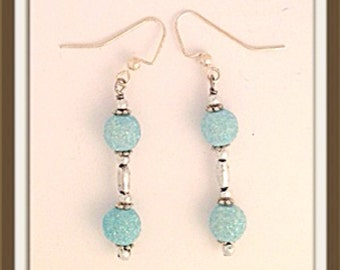 Handmade MWL medium dangle sparkle blue and sliver earrings. 0012