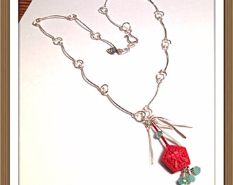 Handmade MWL silver forged links with red and green beaded necklace. 0306