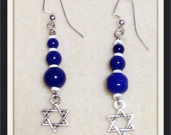 Star of David blue white and silver earrings
