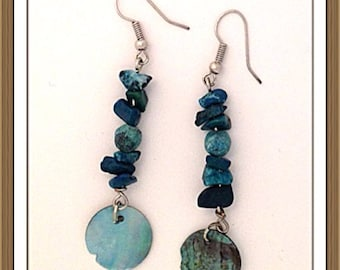 Handmade MWL jade and shell earrings. 0083