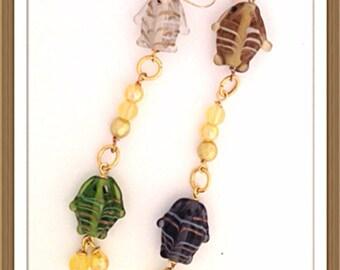 Handmade MWL lampwork fush beaded earrings. 0294