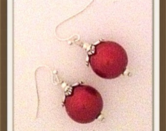 Handmade MWL dangle christmas ball earrings. 0021