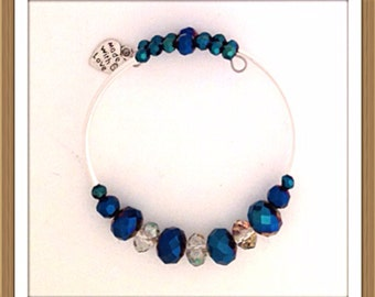 Bracelet Handmade by MWL blue and crystal beaded bracelet 0208