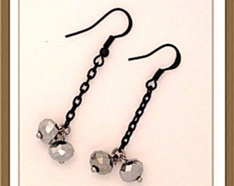 Handmade MWL black and gray dangle earrings. 0142