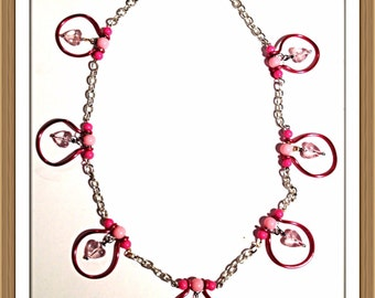 Handmade MWL one of a kind pink and silver handcrafted and forged necklace. 0044
