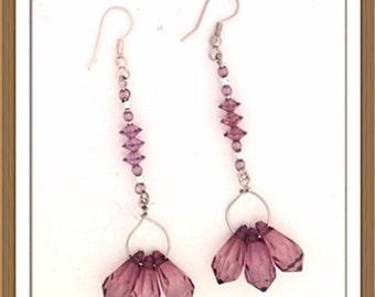 Handmade MWL purple and silver ling dangle earrings. 0131