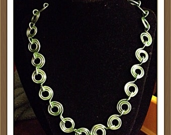 Handmade MWL green handcrafted and forged wire links necklace. 0106