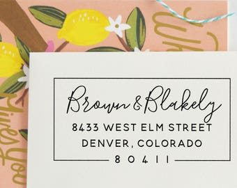 Return Address Stamp | Custom Rubber Stamp | Self Inking Stamp | Save the Date | Wedding Invitation Stamp | Custom Address Stamp, No. 102