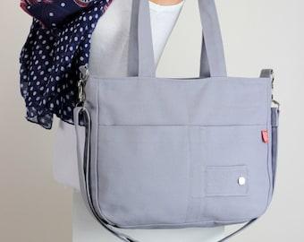 Light Gray Medium Bag Washable Daily Use Minimal Modern Simple Tote Everyday Vegan Cotton Canvas Zipper Bag School College Crossbody Strap
