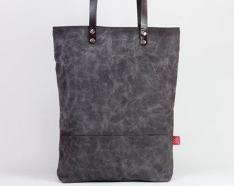 37940cbe2684 Dark brown waxed canvas tote bag with leather strap shoulder use magnetic  snap closure fully cotton lined simply minimalist useful large