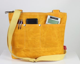 Yellow Unisex Waxed Tote Bag Cross Hang Strap Totes Fully Lining Waterproof Simple Tote Bag Carry All Gift Idea Different Color Available