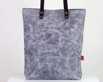 11653f33704c Light gray waxed canvas tote bag with leather strap shoulder use magnetic  snap closure fully cotton lined simply minimalist useful large