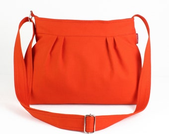 Orange Small Canvas Pleated Cotton Bag Shoulder Purse Everyday Casual Bag Fully Lined Colorful Washable Customized Personalized Gift For Her
